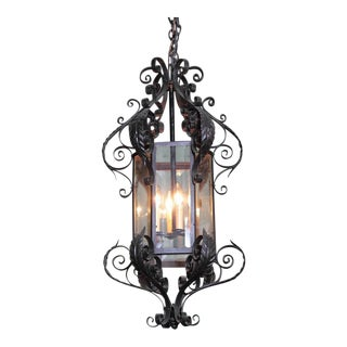 Early 20th Century French Black Four-Light Iron Lantern With Beveled Glass