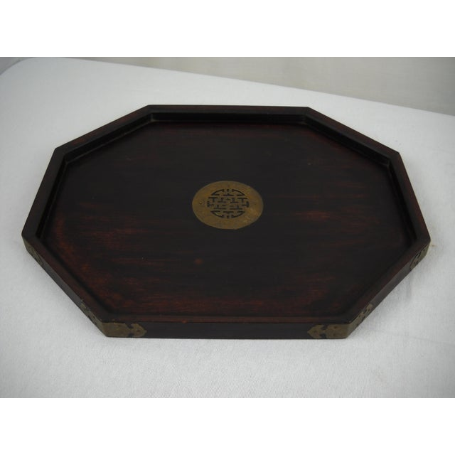 Image of Asian Wood and Brass Serving Tray