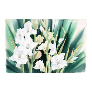 White Iris in Watercolor by Gail Overpeck