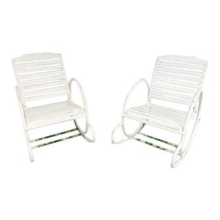 Vintage Art Deco Hoop Garden Rocking Chairs- A Pair