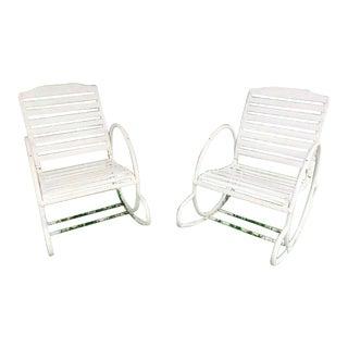 Vintage Art Deco Hoop Garden Rocking Chairs- A Pair