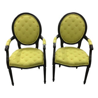 Century Frame Green Accent Chairs - A Pair