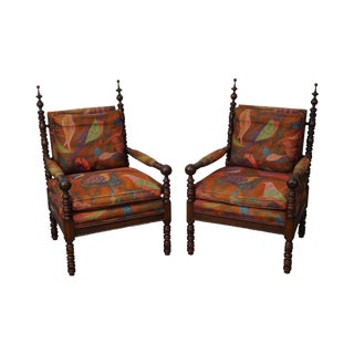 Antique Victorian Gothic Revival Pair of Spool Turned Rosewood Chairs