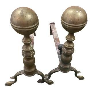 Brass Balltop Andirons - A Pair