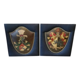 English Coat of Arms Hand-Painted on Leather - A Pair