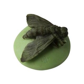 LRC Green Pate De Verre Moth Paperweight