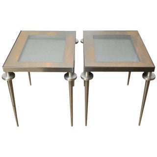 Pair of Modern Brushed Steel and Copper Display Tables
