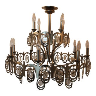 1970's Vintage Italian Brushed Nickel Chandelier