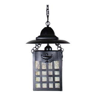"Square Black Cut Out Lantern with Round ""roof"" and Caramel Glass"