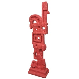 Modern 20th Century Abstract Totem Molded Fiberglass and Plaster of Paris Floor Sculpture