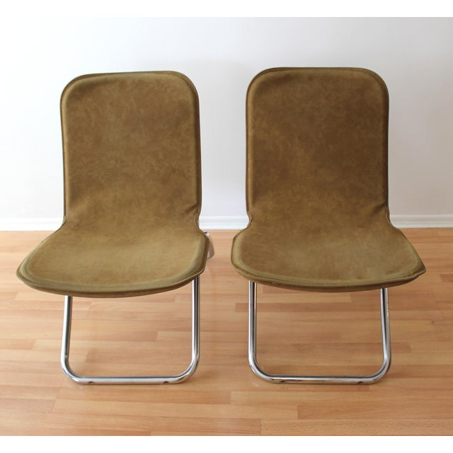 Faux Camel Suede Folding Lounge Chairs - A Pair - Image 4 of 7
