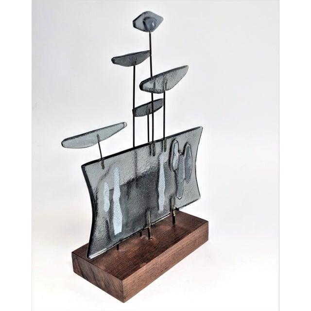 Higgins Style Studio Art Glass Sculpture on Wood Base - Image 3 of 11