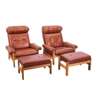 Pair of Tufted Scandinavian Chestnut Lounge Chairs