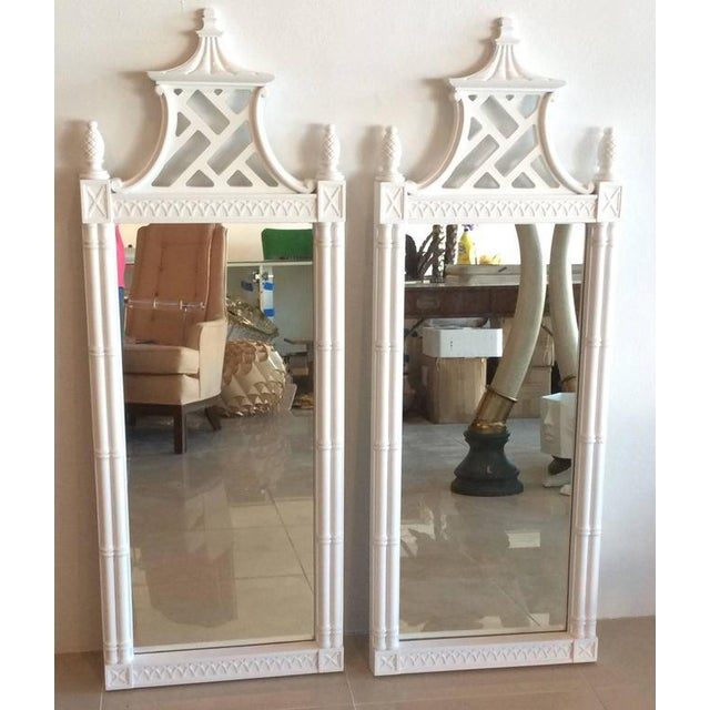 Vintage Chinese Chippendale Pagoda Faux Bamboo Wall Mirrors - A Pair - Image 7 of 11