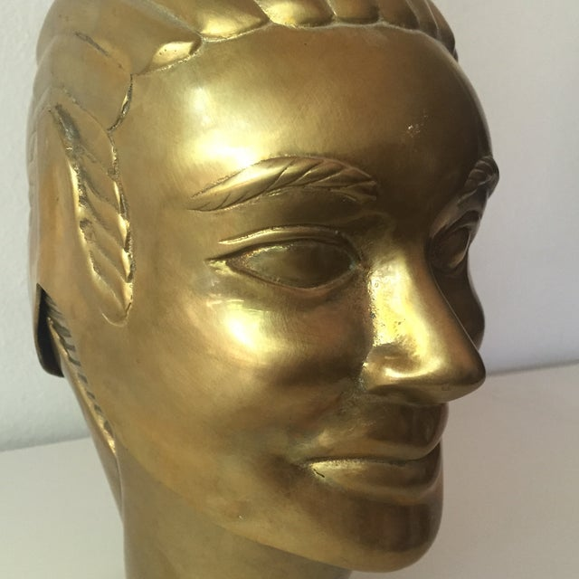 Image of 2 Faced Lidded Brass Figure