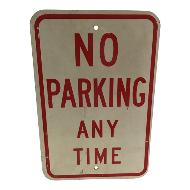 Vintage No Parking Any Time Metal Road Sign - Image 1 of 5