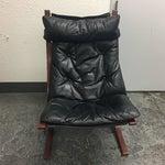 Image of Westnofa Furniture Mid-Century Leather & Teak Chair & Ottoman