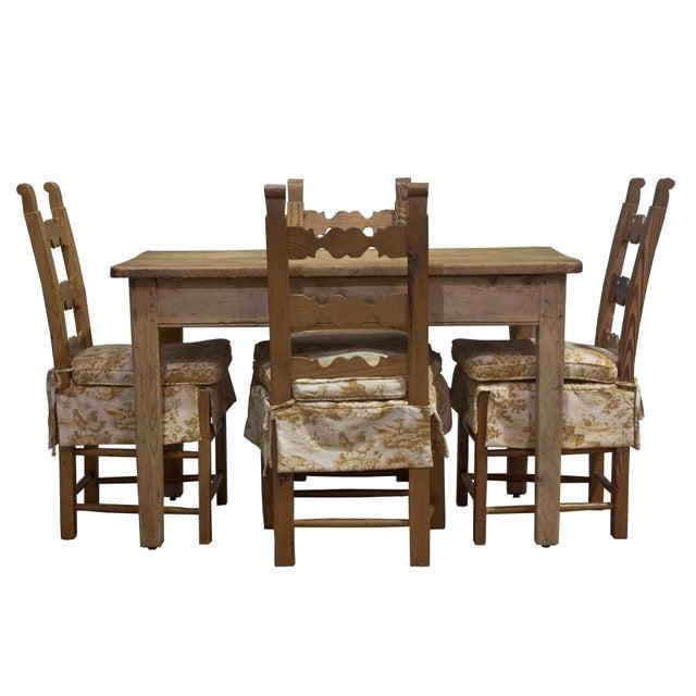 Vintage Sarreid LTD Pine Wood Dining Set - Image 1 of 5