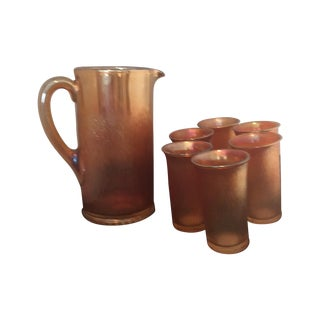 Carnival Pitcher and Six Glasses