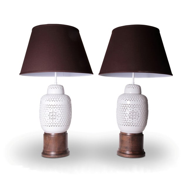 Image of Vintage White Ceramic & Wood Lamps - A Pair