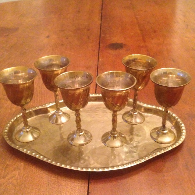 Vintage Brass Cordial Glasses and Tray - Set of 7 - Image 11 of 11