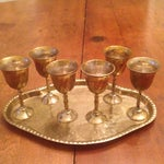 Image of Vintage Brass Cordial Glasses and Tray - Set of 7