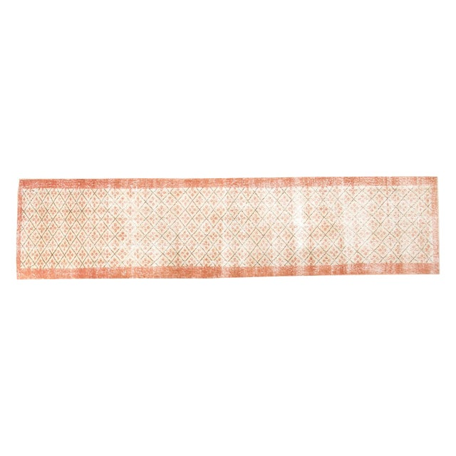 "Vintage Distressed Oushak Runner- 2'3"" x 9'6"" - Image 1 of 7"