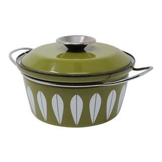 Grete Prytz Kittelsen for Cathrineholm Green Enamel Lotus Casserole Dish
