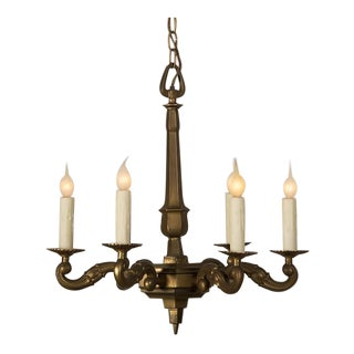 Vintage French Louis XIV Style Bronze Doré Six Arm Chandelier circa 1940