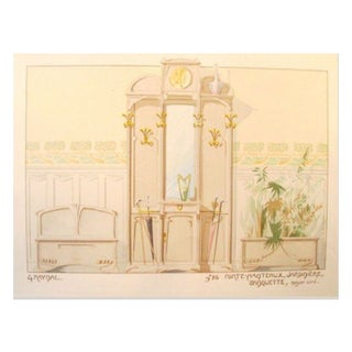 Vintage French Decorator Sheet Interior/Coatrack
