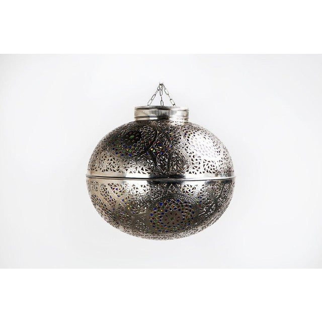 Moroccan Boho Chic Silver Pendant Light With Multi-Color Glass - Image 2 of 5