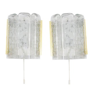 Pair of Mid-Century Modern Doria Leuchten Sconces, Glass and Polished Brass