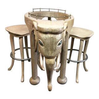 Marge Carson Elephant Bar & Stools - Set of 3