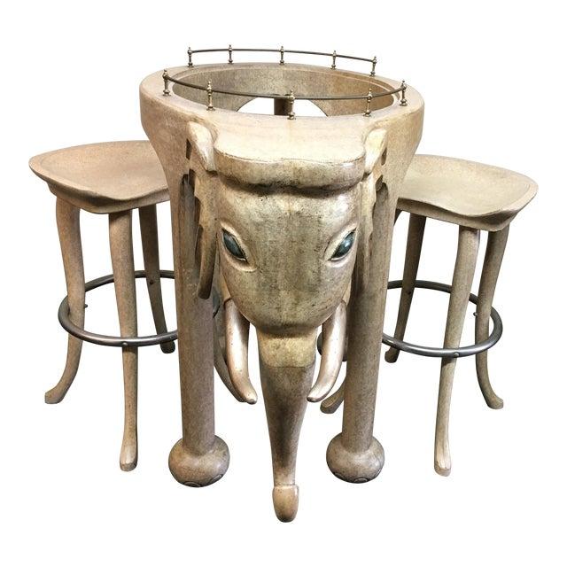 Marge Carson Elephant Bar & Stools - Set of 3 - Image 1 of 9