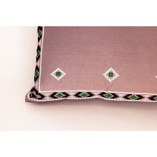 Purple & Green Mexican Embroidered Pillow - Image 3 of 3