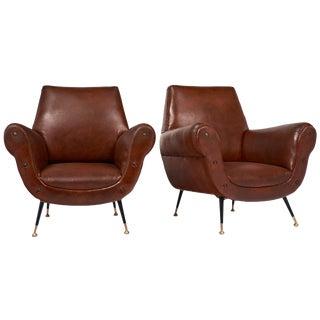 Italian Mid-Century Modern Studded Armchairs- A Pair