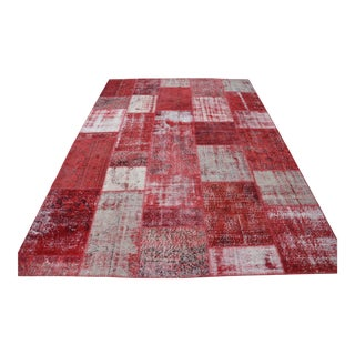 Red Turkish Patchwork Carpet - 6′11″ × 10′