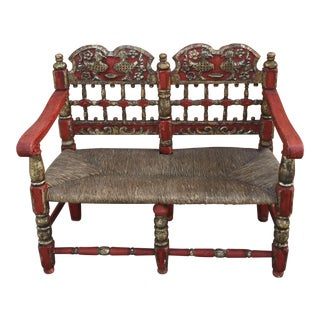 Antique Moroccan Red & Gold Bench