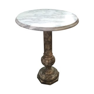 White Marble Side Tables - A Pair