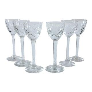Long Stemmed Cut Glass Sherry Glasses- Set of 6