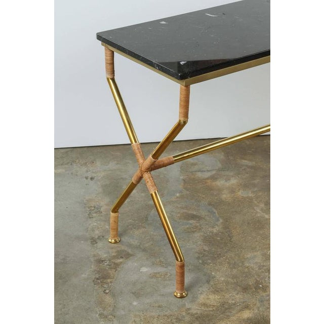 Customizable Paul Marra Brass and Raffia Console with Marble Top - Image 7 of 8