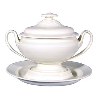 Wedgwood Creamware Pottery Sauce Tureen with Cover and Stand