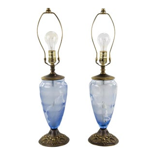 Vintage 19th Century Etched Glass Table Lamps - A Pair