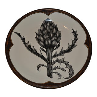 Round Platter With an Artichoke Plant by Laura Zindel
