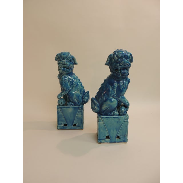 Vintage Ceramic Turquoise Foo Dog on Stand - a Pair - Image 2 of 5