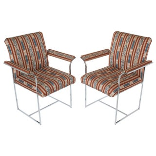 Milo Baughman Chrome Armchairs - A Pair