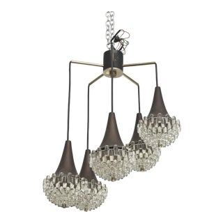 Italian Modern Five-Light Bronze and Glass Chandelier Manner of Max Ingrand