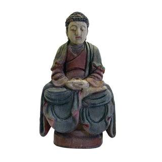 Vintage Chinese Wood Color Meditation Buddha