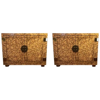 Custom Quality Tortoise Shell Decorated Cabinets - A Pair