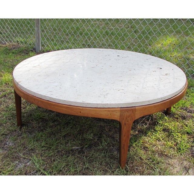 Danish Modern Round Stone Top Coffee Table By Lane Chairish